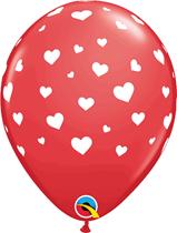 "Valentine's Hearts Around Red 11"" Latex Balloons 6pk"