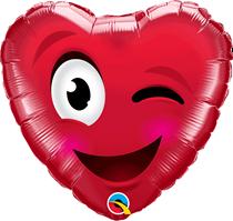 "Valentine's Smiley Wink Heart 18"" Foil Balloon"