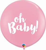 Pale Pink Baby Shower Oh Baby 3ft Latex Balloons 2pk