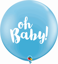 Pale Blue Baby Shower Oh Baby 3ft Latex Balloons 2pk