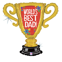 """World's Best Dad 33"""" Holographic Trophy Foil Balloon"""