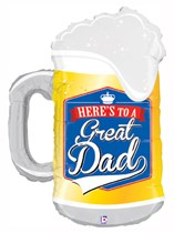 """Here's to a Great Dad 34"""" Beer Mug Supershape Balloon"""