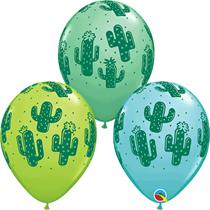 "Cactus Assorted Colour 11"" Latex Balloons 6pk"