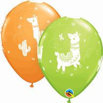 "Orange & Green Llama 11"" Latex Balloons 6pk"