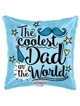 """Coolest Dad Father's Day 18"""" Square Foil Balloon"""