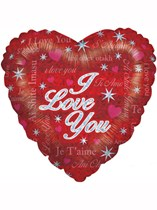 """Valentine's Day I Love You Holographic Heart Shaped Foil Balloon 18"""""""