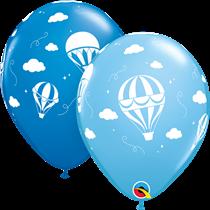 """Asst. Blue Hot Air Balloon Clouds 11"""" Latex Balloons 25pk"""