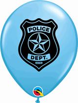 "Pale Blue Police Car & Badge 11"" Latex Balloons 25pk"