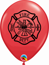 """Red Fire Truck & Badge 11"""" Latex Balloons 25pk"""