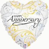 """Happy Anniversary Heart Shaped 18"""" Foil Balloon"""