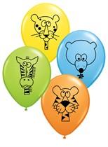 "11"" Assorted Jungle Animal Latex Balloons 25pk"