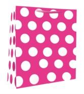 Medium Bright Pink Polka Dot Gift Bags 6pk