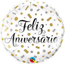 "Feliz Aniversario 18"" Confetti Foil Balloon (Order In Only)"
