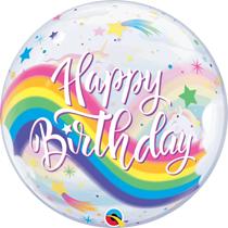 """Happy Birthday Rainbow Unicorn 22"""" Bubble Balloon"""