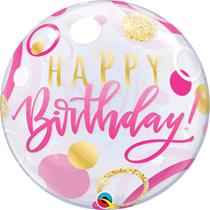 "Happy Birthday Pink & Gold Dots 22"" Bubble Balloon"