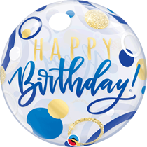 "Happy Birthday Blue & Gold Dots 22"" Bubble Balloon"
