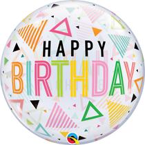 "Happy Birthday Triangles 22"" Deco Bubble Balloon"