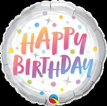 "Happy Birthday Rainbow Dots 18"" Foil Balloon"