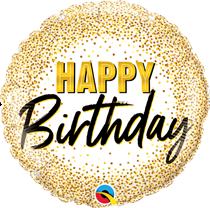 "Happy Birthday Gold Glitter 18"" Foil Balloon"