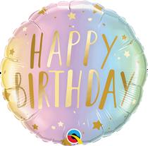 "Pastel Happy Birthday Stars 18"" Foil Balloon"