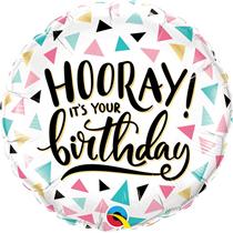 "Hooray Birthday White 18"" Foil Balloon"