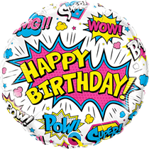 "Happy Birthday Super Hero White 18"" Foil Balloon"