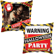 "Halloween Warning Zombie Party 18"" Foil Balloon"