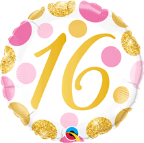 """Pink & Gold Dots 16th Birthday 18"""" Foil Balloon"""