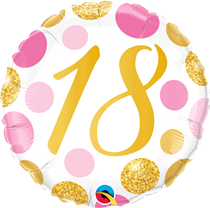 """Pink & Gold Dots 18th Birthday 18"""" Foil Balloon"""