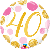 """Pink & Gold Dots 40th Birthday 18"""" Foil Balloon"""
