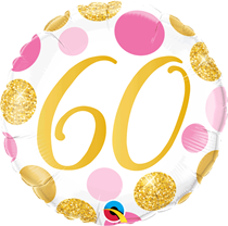 """Pink & Gold Dots 60th Birthday 18"""" Foil Balloon"""