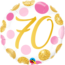 """Pink & Gold Dots 70th Birthday 18"""" Foil Balloon"""
