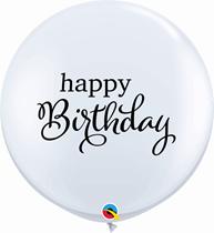 Happy Birthday Script 3ft White Latex 2pk