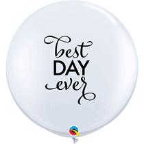 White Best Day Ever Script 3ft Wedding Latex Balloons 2pk