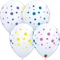 "Colourful Dots White 11"" Latex Balloons 50pk"