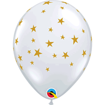 "Gold Stars Diamond Clear 11"" Latex Balloons 25pk"