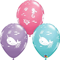 Narwhal Under The Sea Assorted Latex Balloons 25pk