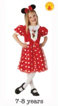 Red Glitz Minnie Mouse Fancy Dress Costume - 7-8yrs