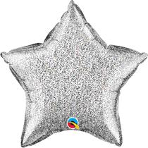 "Glittergraphic Silver 20"" Star Foil Balloon (Pkgd)"