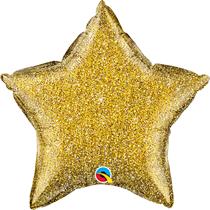 """Glittergraphic Gold 20"""" Star Foil Balloon (Pkgd)"""