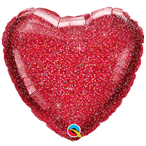 """Glittergraphic Red 18"""" Heart Foil Balloon (Loose)"""