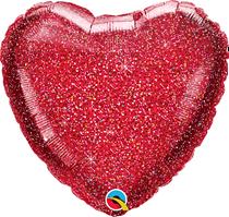 """Glittergraphic Red 18"""" Heart Foil Balloon (Pkgd)"""