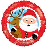 "Christmas Santa & Reindeer 18"" Foil Balloon"