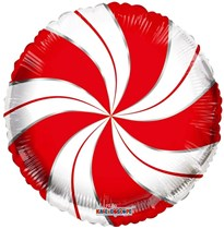 """Christmas Candymint Red & White 18"""" Foil Balloon"""