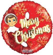 """Christmas Elf 18"""" Round Foil Balloon"""