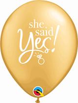 "Gold She Said Yes Engagement 11"" Latex Balloons 25pk"