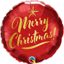 "Merry Christmas Gold Script 18"" Foil Balloon"