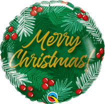 "Merry Christmas Berries Green 18"" Foil Balloon"