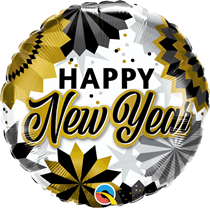 """Happy New Year Black & Gold Fans 18"""" Foil Balloon"""