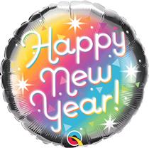 "Happy New Year Retro Prismatic 18"" Foil Balloon"